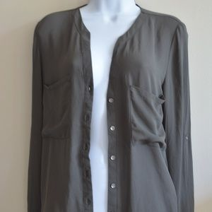 Forever 21 Olive Green Chiffon Blouse